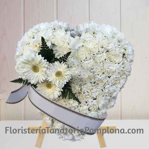Corazon Funerario clavel blanco