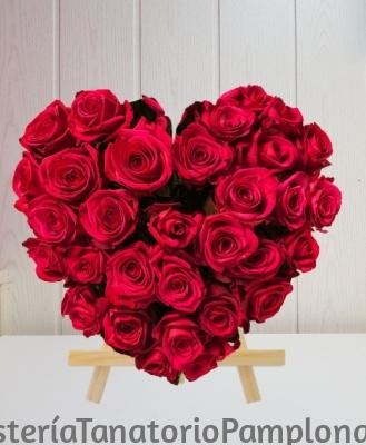 Corazón Funerario rosas rojas, Flores para Tanatorio