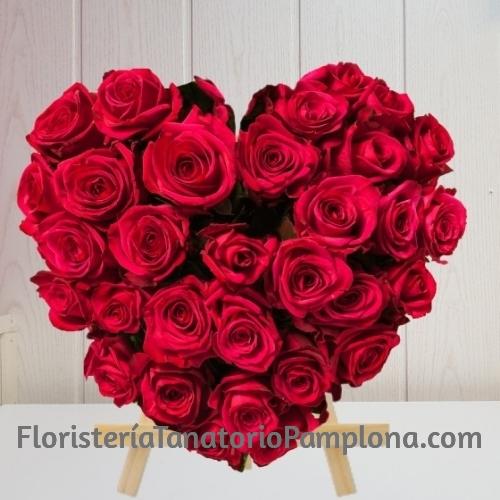 Corazón Funerario rosas rojas