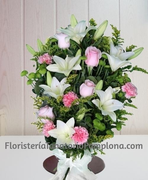 Ramo funerario blanco y rosa