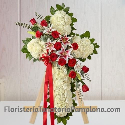 Cruz Funerario clavel y rosas