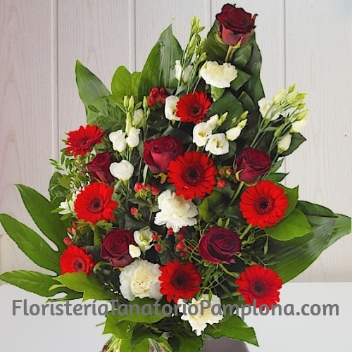 Ramo funerario rosas y lisianthus