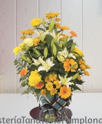 Enviar Flores Tanatorios, Ramo Fúnebre tonos Amarillos