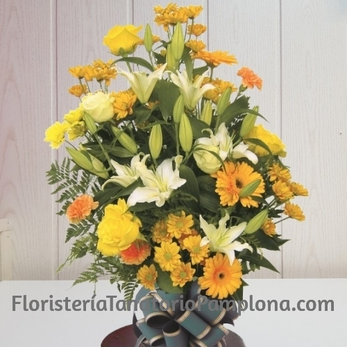 Ramo funerario tonos amarillos