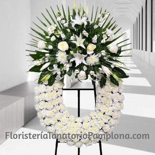 Corona Funeraria Blanca Clásica