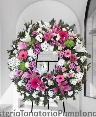 Corona Funeraria Flor Variada Rosa y blanca