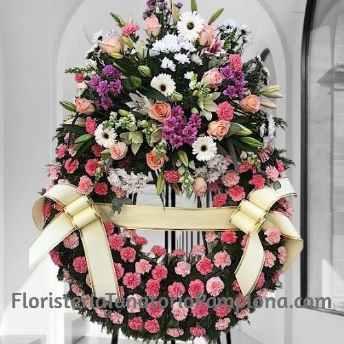 Corona difuntos clavel rosa