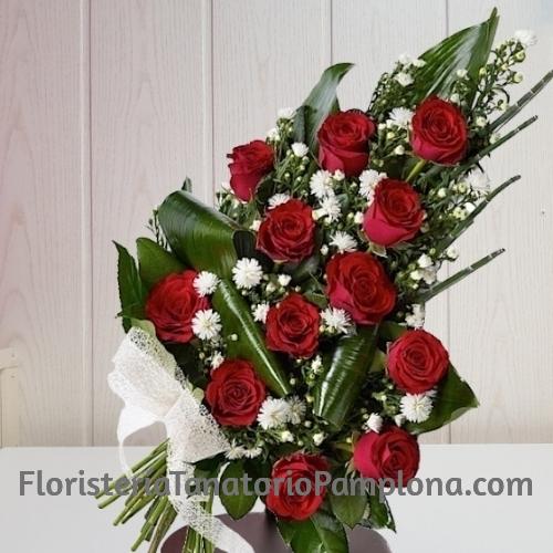 Ramo funerario 12 rosas rojas